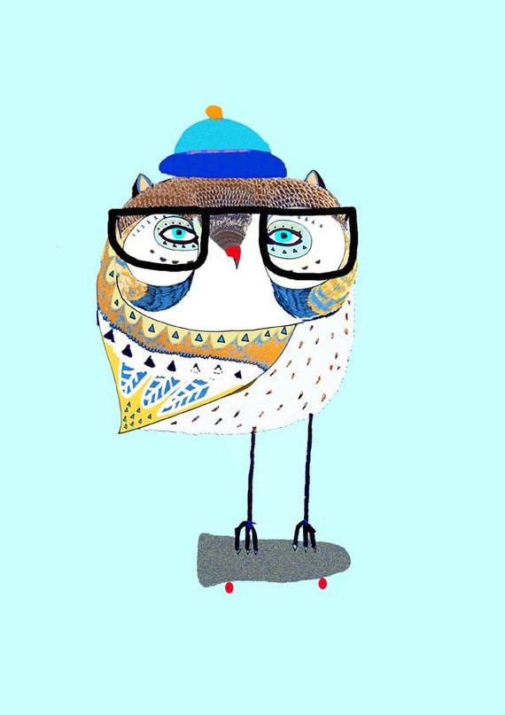 Nursery art baby nursery decor nursery print Kids art illustration print - ''Owl Skater''.