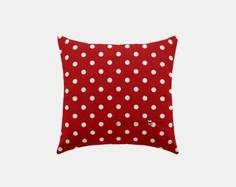 Square Pillow Cover - Red Polka Dot - S1