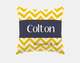 Square Name Pillow Cover - Corn Yellow Chevron, Solid Navy - Hayden