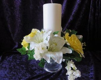 "Yellow and White floral candle rings - beautiful yellow and white flowers with green leaves -  3 1/2"" opening"