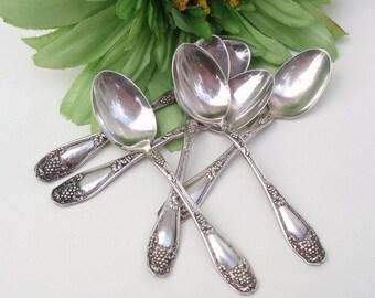 Vintage Demitasse Spoons | Coffee Spoons | Silver Plate Flatware | Isabella Grape Pattern | Set of 6 - As Is