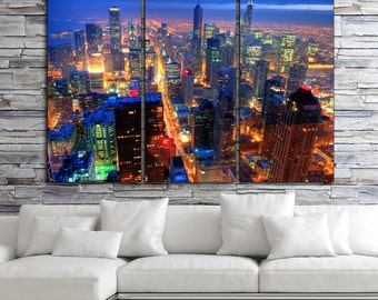 Chicago Skyline on Canvas, Brite Night Chicago Art, Large Chicago Print, Large Wall Art, Downtown Chicago, Large Canvas, Big Canvas