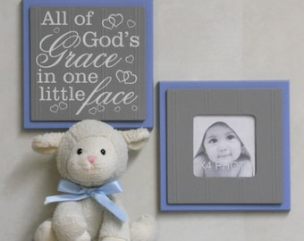 All of God's Grace in One Little Face - Sign Painted in Blue and Gray Baby Boy Nursery Wall / Room Decor - Set of 2 - Photo Frame and Sign