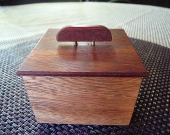 Handcrafted Cancharana and Paduak Jewelry/ Keepsake Box with Decorative Handle