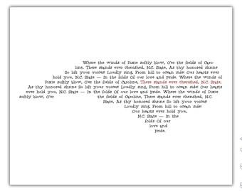 NC State Alma Mater Print - North Carolina Typography Print - 8x10