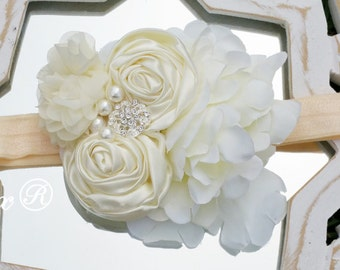 Cream ivory rustic feather girls headband, ivory rosette headband, vintage headband, baby lace headband, flower headband, rosette flower