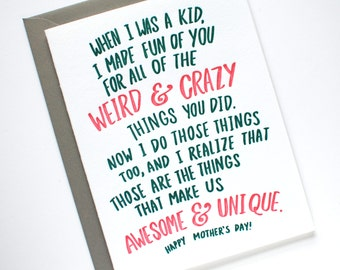 SALE - Mother's Day Card - Funny Mothers Day Card - Mothers Day Card