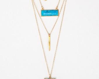 Layered Necklace Set - Set of 4 - Turquoise Arrowhead Necklace - Layering Necklaces - Gold Necklace - Layering Set - Boho Chic - Statement