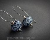 Lampwork glass stainless steel wire earrings -  Cobalt Blue and white dots