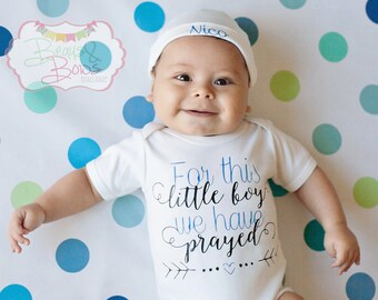 For This Little Boy We Have Prayed Long Sleeve Gown or Bodysuit + Personalized Hat - CHOOSE COLORS - Made to Order