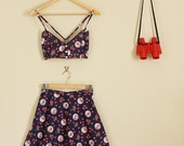 Navy Polka Dot + Rose Floral Print Twin Set Fitted Sweetheart Crop and A Line Skirt 90s Cute Lolita 60s 70s 80s