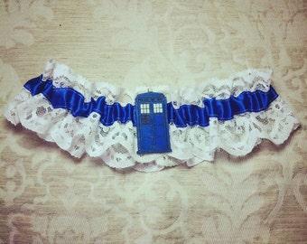 Dr Who Garter, Tardis garter, Doctor Who Wedding, Wedding garter, hen party, batchelorette shower, bridal garter, blue garter, geek lingerie