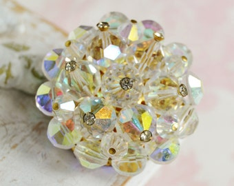 Vintage Brooch of Iridescent Glass Beads and Rhinestones