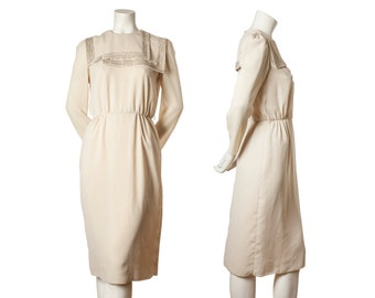 Vintage cream dress with sequins -- 1960s / 70s evening dress with sequined lapel -- button up back dress --  size small / xs