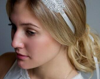 Crystal Rhinestone Medallion Headband - Bridal Glass Crystal Rhinestone Medallion Headband