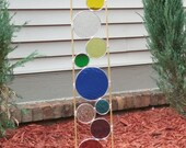 Stained glass Garden Art Stake Rainbow colors garden art outdoor yard decoration modern garden