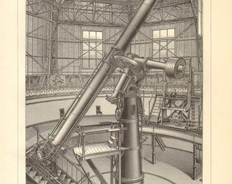 1902 Astronomical Instruments, Great Refractor, Pulkovo Astronomical Observatory and Astrophysical Observatory Potsdam Antique Engraving
