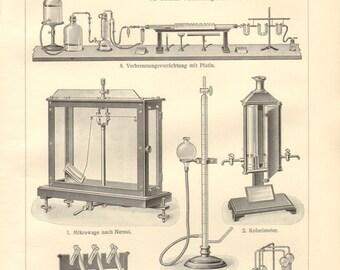 1902 Chemical Analysis, Microbalance, Colorimeter, Liebig's Combustion Furnace, Azotometer, Kjeldahl Distillation Apparatus Vintage Print