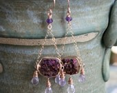 Purple druzy and amethyst Art Nouveau inspired chandelier earrings in rose gold fill