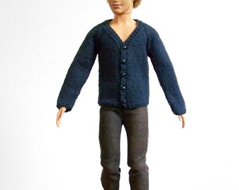 Male Fashion Doll Sweater, Knit Doll Sweater, Navy Doll Sweater, Male Doll Sweater, Hand Knit Male Doll Clothes