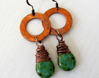 Hammered Copper Earrings Boho Earrings Hoop Earrings Boho Chic Tribal Earrings Boho Jewelry Green Earrings Metal Earrings  Earthy Jewelry
