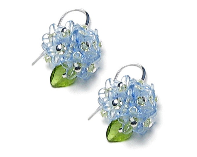 Blue Forget Me Not Flower Silver Earrings Swarovski Crystals Tiny Spring Flower Clusters Dainty Something Blue Floral Wedding Jewelry Women