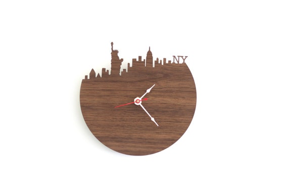New York Wall Clock - Statue of Liberty, Empire State Building Clock