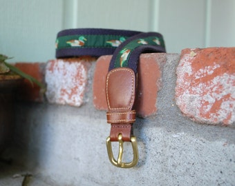 Vtg Size 42 Brooks Brothers Belt Designer Leather Duck Bird Mallard Belt Hunter Hunting Preppy Designer Hipster Spring Fashion Hamptons