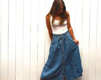 Denim Maxi Skirt - 1980s Cherokee Ankle Length Button Up Skirt - Vintage Jean Skirt with Pockets - Medium