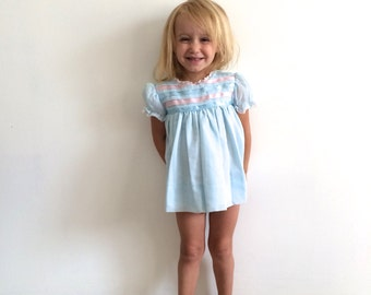 1970s baby girls cottage chic ribbon pastel easter puff sleeve dress