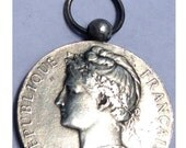 """Vintage French Silver Medal of the MARIANNE signed A. BORREL 1906 on 18"""" sterling silver rolo chain"""
