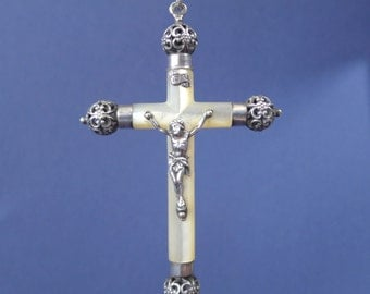 "Vintage Mother of Pearl and Sterling Silver Crucifix Cross Jewelry Religious Medal Pendant on 18"" sterling rolo chain"