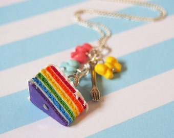 Rainbow Cake ( bow necklace colorful necklace fork necklace sliced cake food jewelry miniature food polymer clay food rainbow necklace )