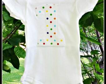 First Birthday Appliqued Onesie - Multicolored Confetti