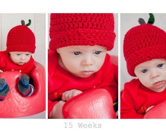 Children's Crochet Apple Hat ~ Apple Hat Photoprop ~ Newborn Photography ~Fall and Winter