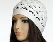 White Winter Crocheted Cap, Handmade Winter Cap, Heart Hat for Women