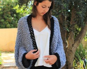Black Gray Bolero Sweater, Hand Knit Gray Shrug, Womens Knit Cardigan