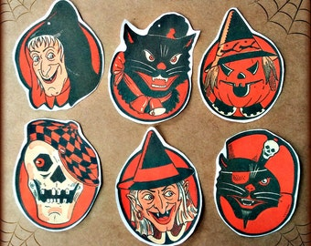 Vintage Halloween Faces Stickers
