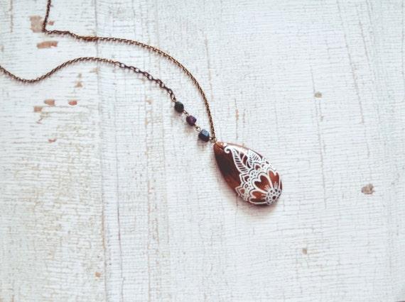 Mehndi Flower Jewelry Mississauga : Henna flower necklace by bellehibou on etsy