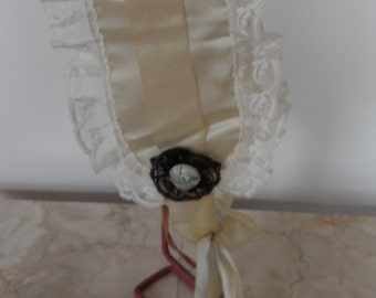 Vintage Handmade Lady's Silk Night Cap with Ribbon Tie & Rose Accents