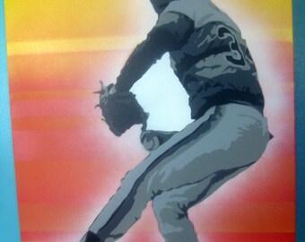 Nolan Ryan - Houston Astros Legendary Baseball Pitcher Portrait Painting - Stencil Art by Beau Pope on Heavy Canvas