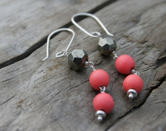 Pink Orange Coral and Pyrite Gemstone Wire Wrapped Sterling Silver Earrings. Coral, Pyrite.  Handmade ear wires, ear hooks