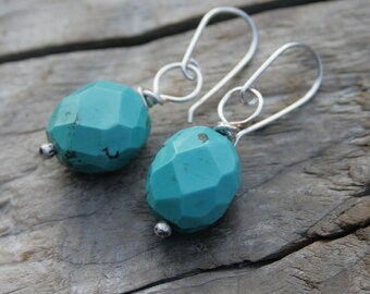 Chunky Faceted Turquoise Gemstone and Sterling Silver Wire Wrapped Sterling Silver Earrings. Handmade ear wires, ear hooks