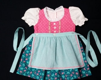 Pink and Turquoise Baby Dirndl