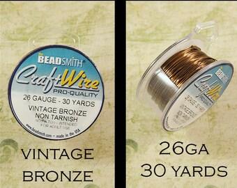 26ga Vintage Bronze Craft Wire - Non Tarnish - from Bead Smith - 30 Yards
