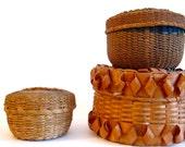Vintage Native American woodland baskets with lids, set of three, vintage sewing basket