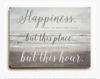 Wood Happiness Sign, Inspirational Wood Panel Art, Ready to Hang Wood Panel Print, Happiness Quote Art, Happiness Quotation. Wood Panel Art.