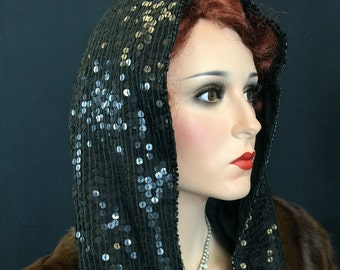 Vintage 1980s Hat Black Sequins for Clubbing New Years Cosplay Lady Gaga Style 80s Hoodie Bling