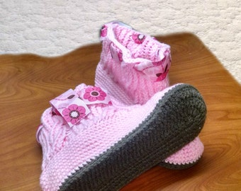 PATTERN Cabled Country Slippers/Boots Crochet and Knit/ Women's sizes 5 through 10 Photo Tutorial Permission to sell finished items