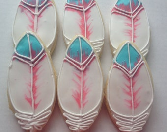 Feather Sugar Cookies / BOHO party favor/ decorated cookie/ bohemian chic